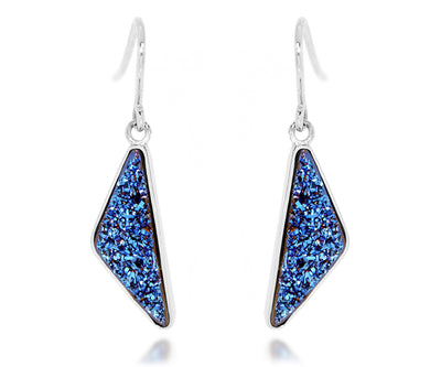 medium triangle sapphire blue druzy silver drusy earrings