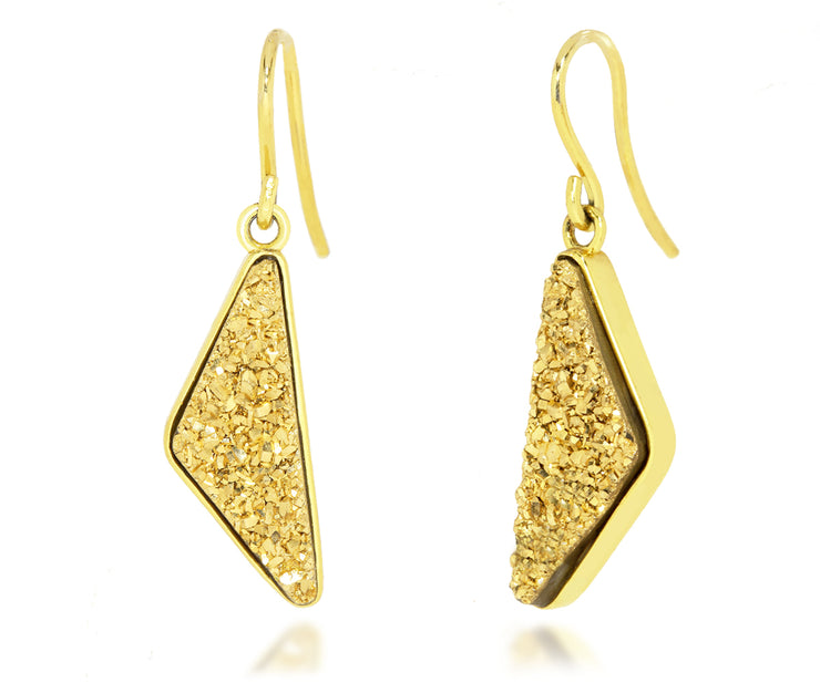 Triangle 18K Gold Druzy Earrings
