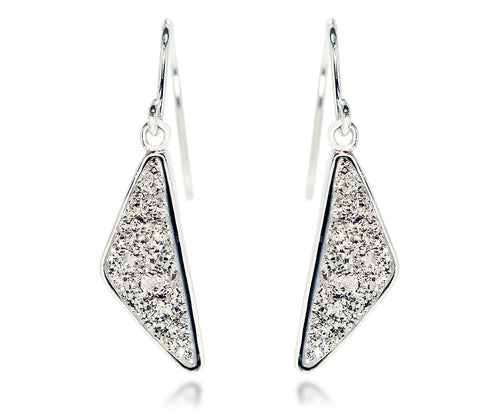 platinum triangle dangle fashion druzy drusy earrings