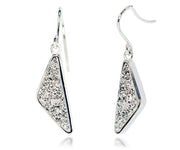 Triangle Platinum Druzy Earrings