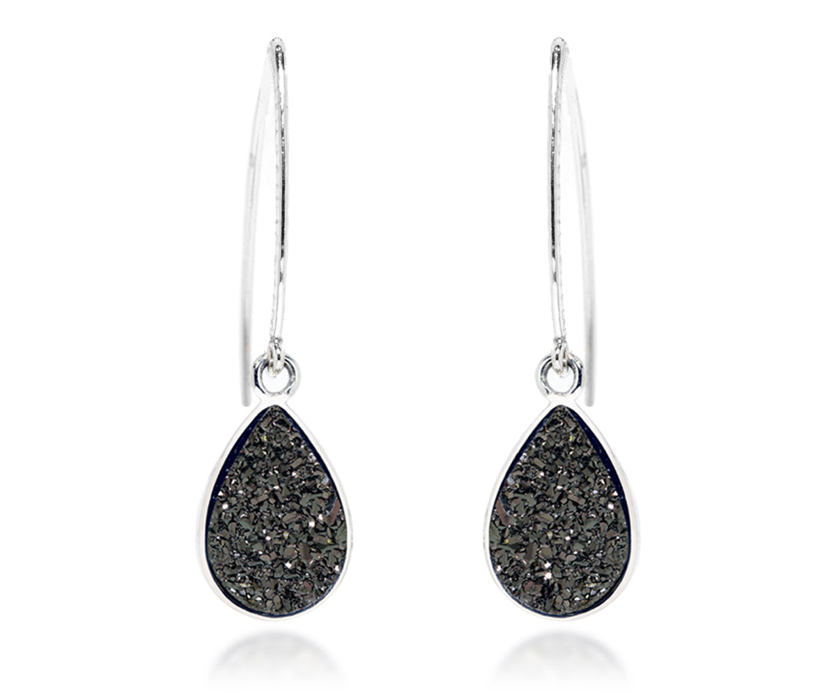 long dangle black druzy teardrop silver hammered drusy earrings