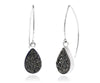 Hammered Teardrop Black Druzy Earrings