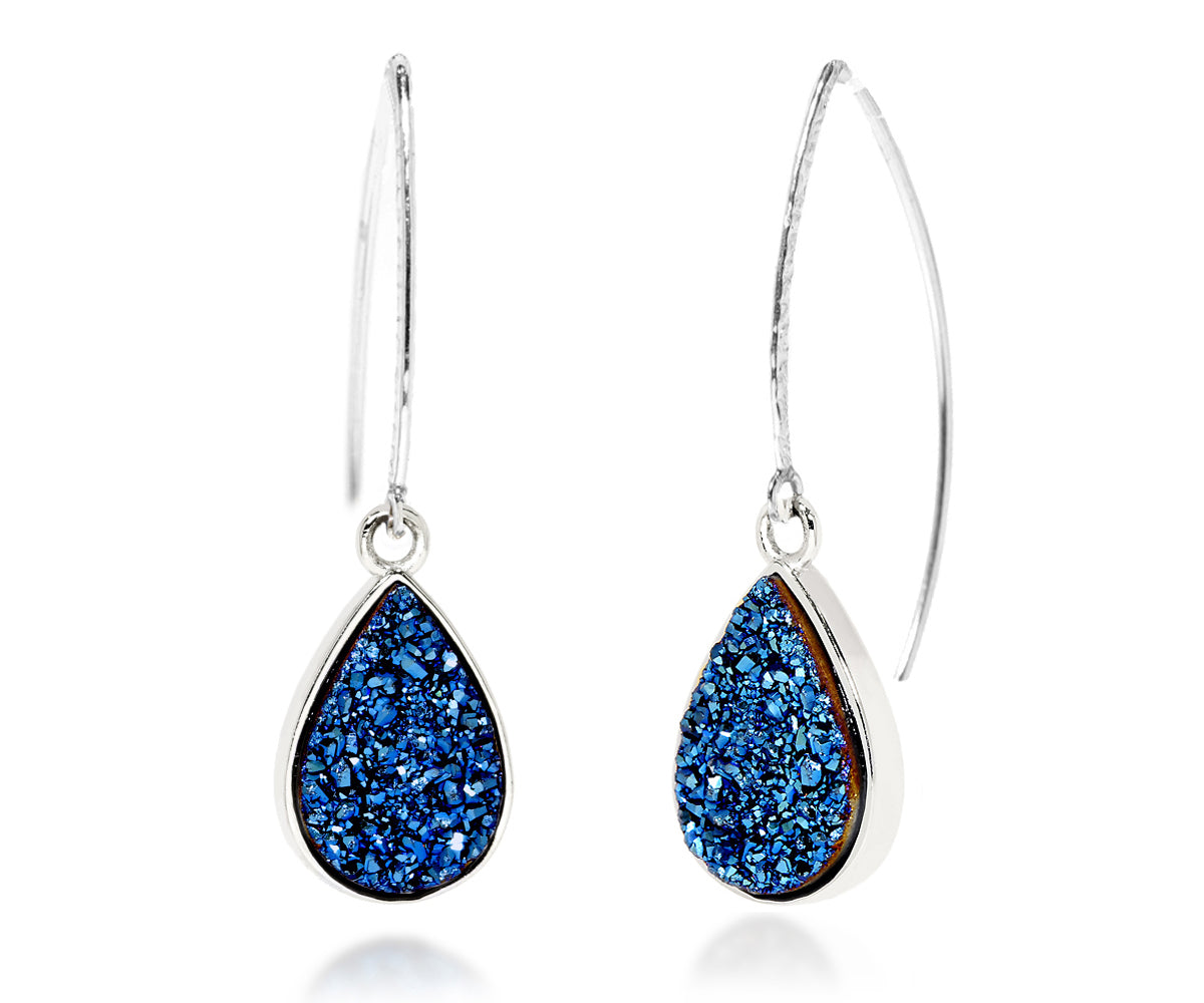 Hammered Teardrop Blue Druzy Earrings