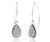 hammered teardrop platinum druzy women dangling silver earrings