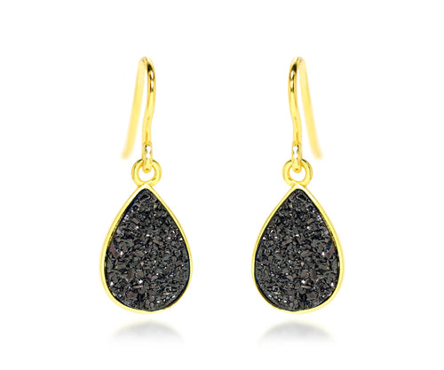Small Teardrop Black Druzy 14K Vermeil Earrings