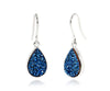 Small Teardrop Blue Druzy Earrings