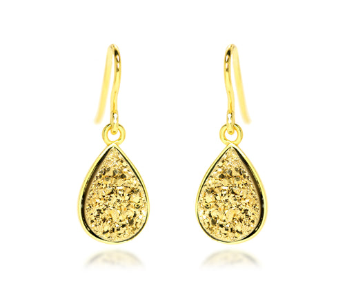 teardrop 18k yellow gold druzy drusy women dangle fashion sparkle earrings