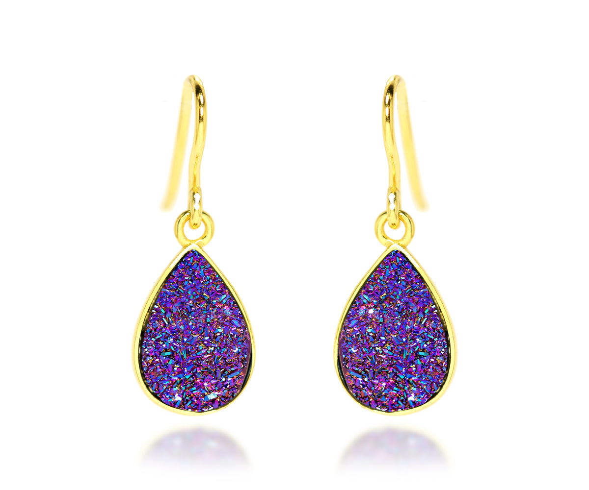 ambrosia small teardrop purple rainbow druzy dangle 14k vermeil drusy earrings