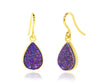 Small Teardrop Purple Druzy 14k Vermeil Earrings
