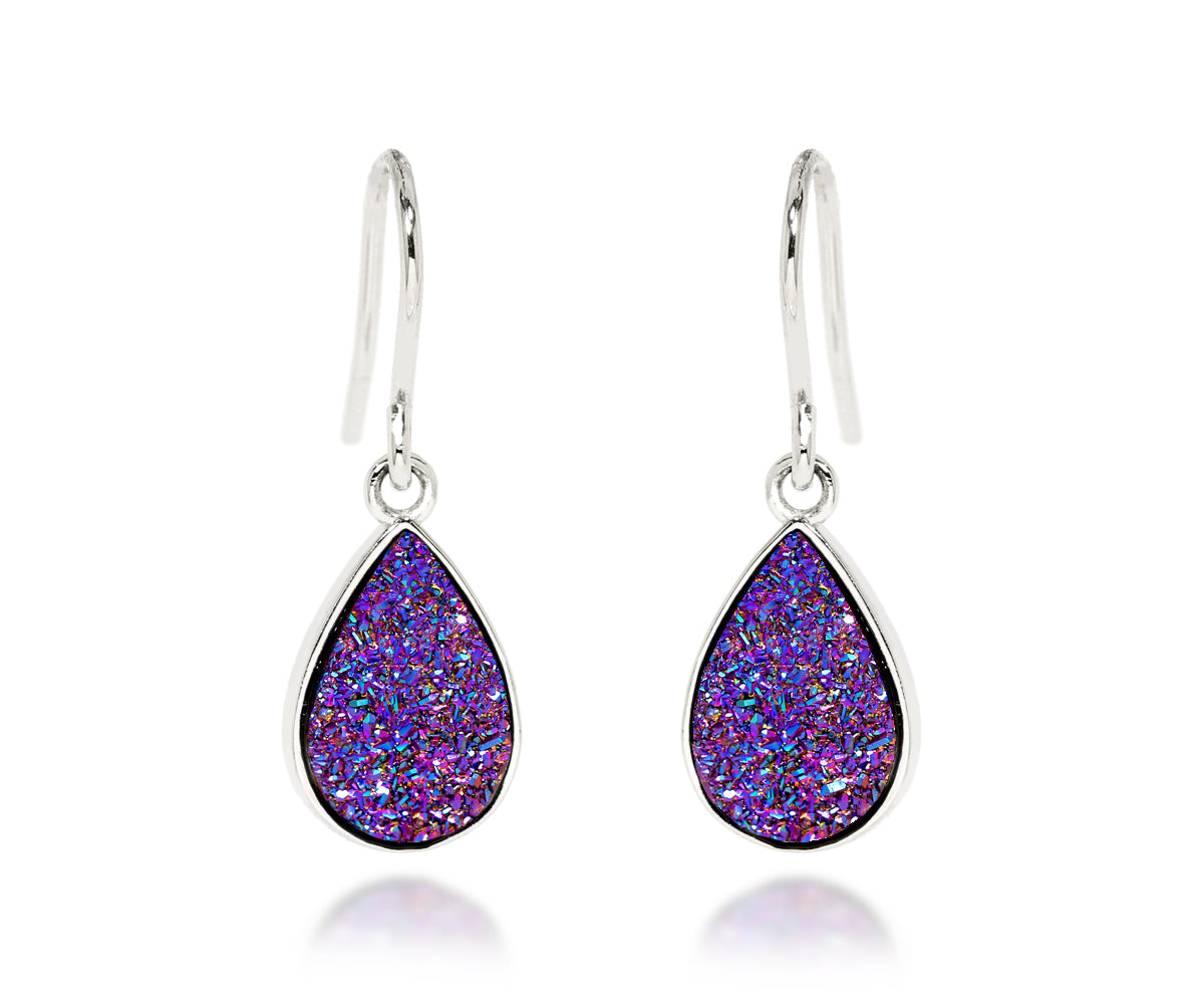 ambrosia small teardrop purple rainbow druzy silver drusy earring