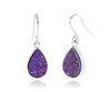 Small Teardrop Purple Rainbow Druzy Earrings
