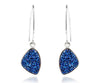 ambrosia hammered trillion sapphire blue druzy dangling drusy earrings