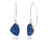 Hammered Trillion Blue Druzy Earrings