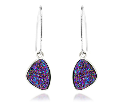Hammered Trillion Purple Rainbow Druzy Earrings