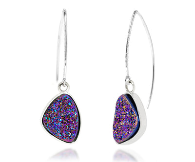 long hammered earwire purple rainbow druzy trillion womans drusy silver earrings