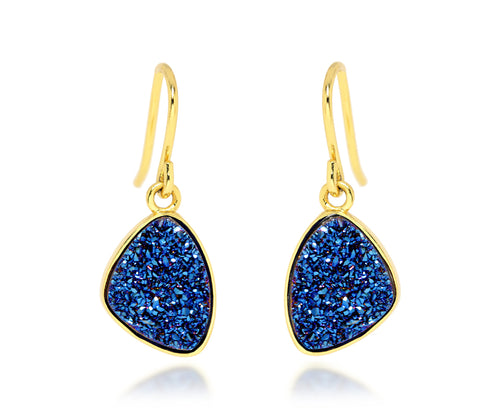 Ambrosia teardrop sapphire blue druzy dangle drusy silver earrings 14k gold