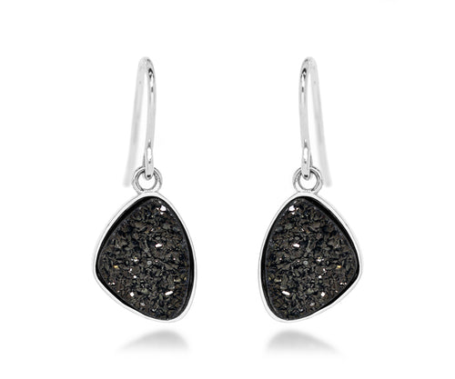 Small Trillion Black Druzy Earrings
