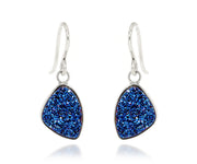 Small Trillion Blue Druzy Earrings