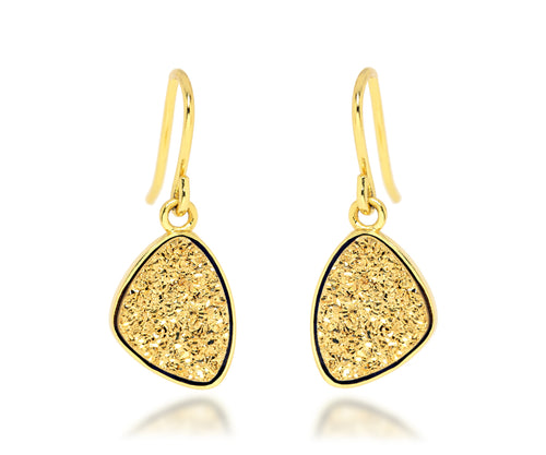 Small Trillion 18k Gold Druzy Earrings