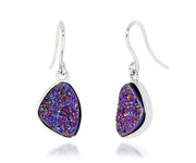 Small Trillion Purple Rainbow Druzy Earrings