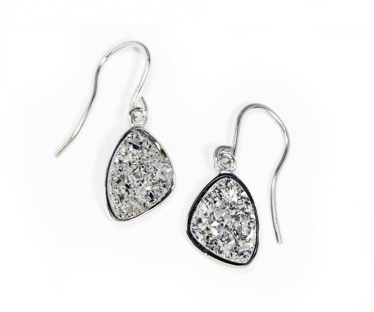 Small Trillion Platinum Druzy Earrings
