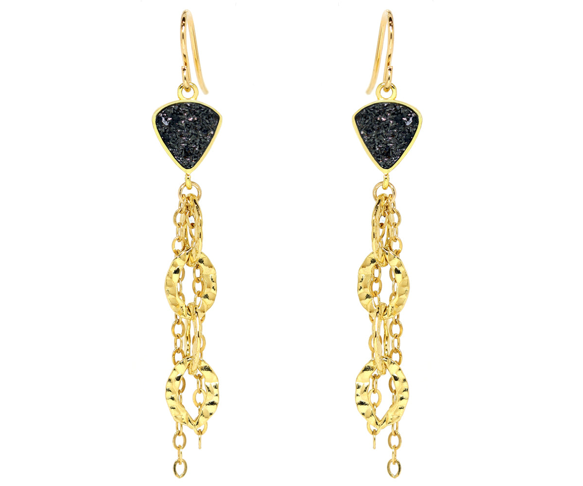 ambrosia heavy stain triangle black druzy 14k gold drusy earrings