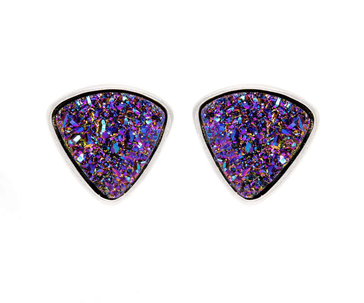 Small Triangle Purple Rainbow Druzy Stud Earrings