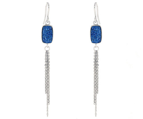 small rectangle sapphire blue druzy dangling chain drusy earrings