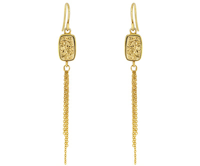 fashion druzy dangling chains gold crystal earrings