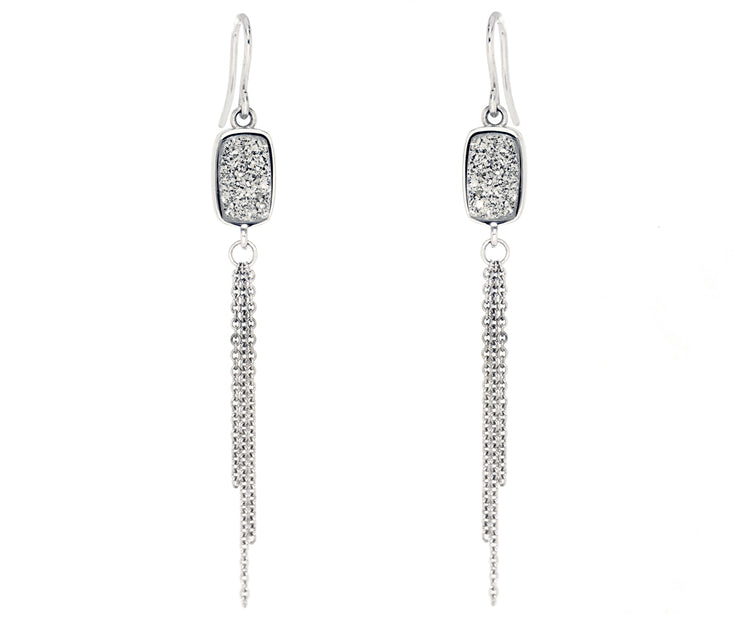dangling chain druzy fashion platinum earrings sterling silver