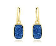 Small Rectangle Blue Druzy 14K Vermeil Earrings