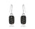 small rectangle black druzy drusy women sparkle dangle earrings