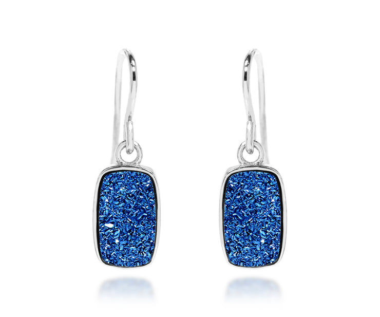 Small Rectangle Blue Druzy Earrings