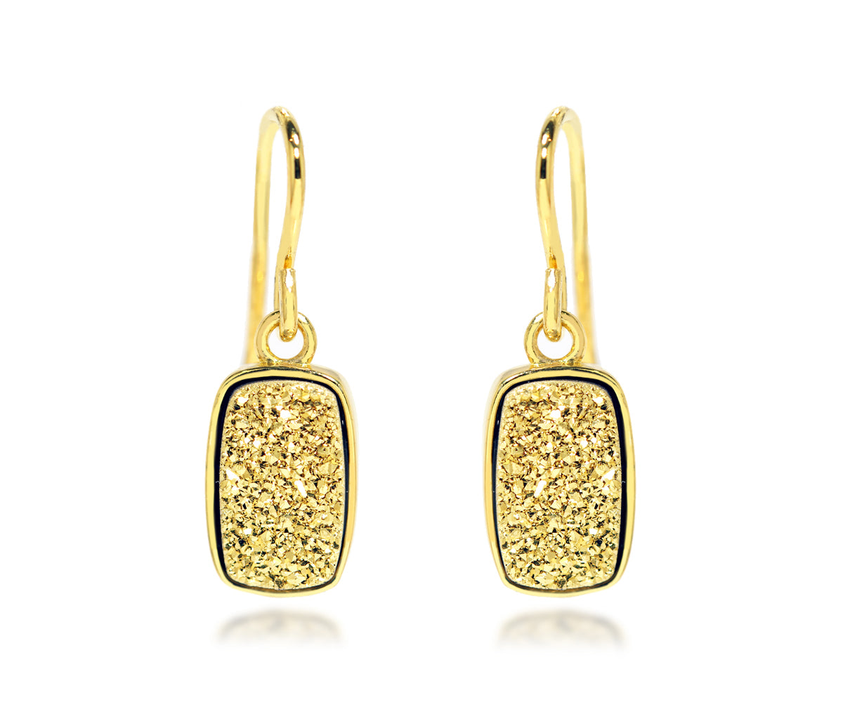 small rectangle 18k yellow gold druzy drusy dangle fashion sparkle earrings