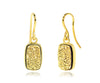 Small Rectangle 18K Gold Druzy Earrings in 14K Gold