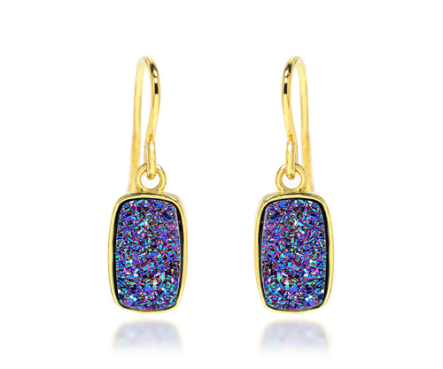 Small Rectangle Purple Rainbow Druzy 14K Vermeil Earrings