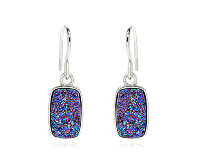ambrosia small rectangle purple rainbow druzy silver drusy earrings