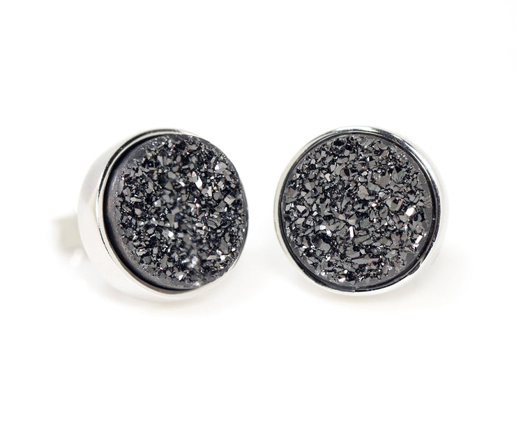 Ambrosia round black titanium druzy quartz fashion drusy silver earrings