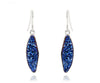 Ambrosia teardrop sapphire blue druzy dangle drusy silver earrings