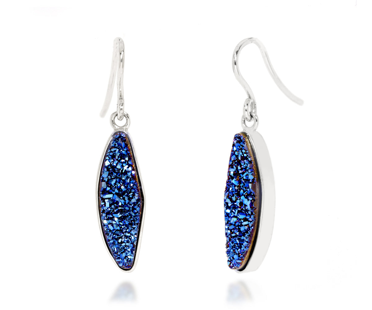 Small Marquise Blue Druzy Earrings