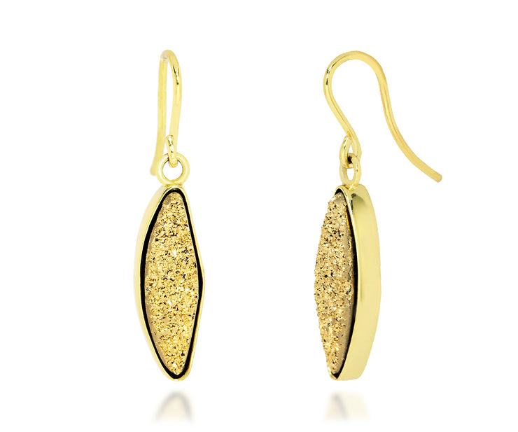 Marquise 18K Gold Druzy Earrings