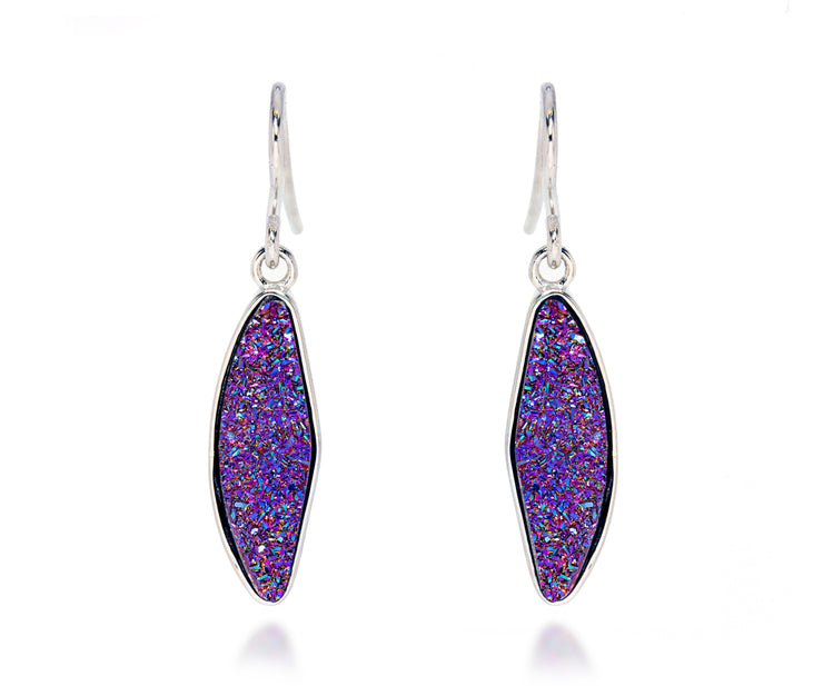 Small Marquise Purple Rainbow Druzy Earrings