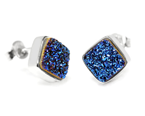 small square sapphire blue druzy silver drusy stud earrings