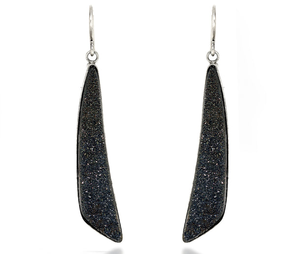Large Angular Black Druzy Earrings