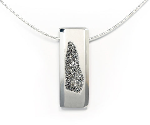 Modern Platinum Druzy Necklace