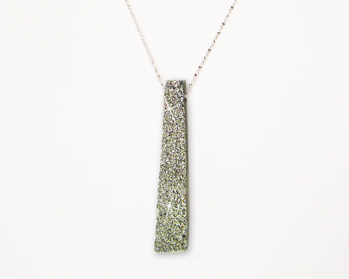 XLarge Rectangle Platinum Druzy Necklace