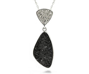 Double Drop Trillion Platinum & Black Druzy Necklace