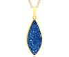 ambrosia large marquise sapphire blue druzy quartz 14k gold vermeil necklace fashion drusy jewelry