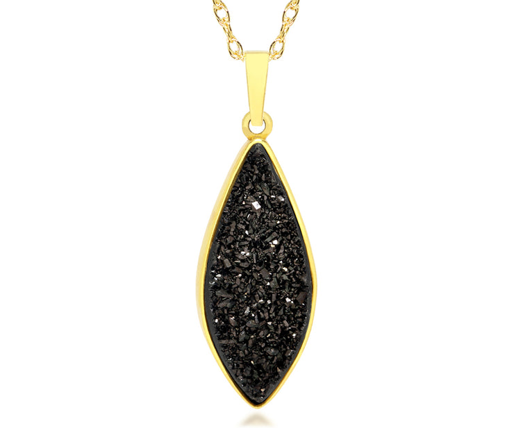 ambrosia large marquise 18k gold druzy quartz sterling gold vermeil necklace fashion drusy jewelry