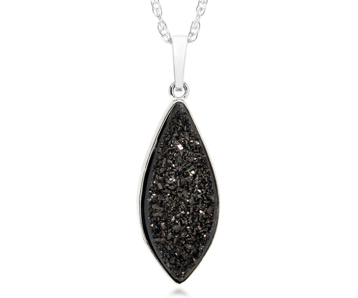 ambrosia large marquise black druzy quartz sterling silver necklace fashion drusy jewelry